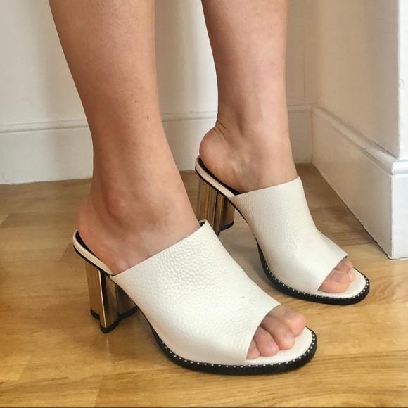 White leather sandals heels flower